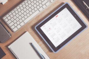 apple, calendar, desk